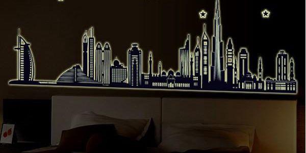 Fluorescentní samolepka na zeď - Dubai