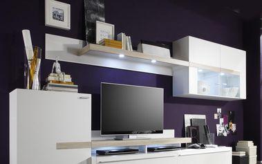 Obývací stěna PIANO bílá / dub Sonoma