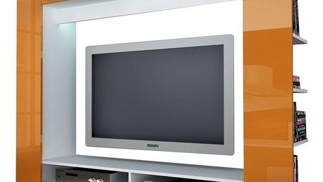 Televizní stěna OLLI bílá / lesklá oranžová