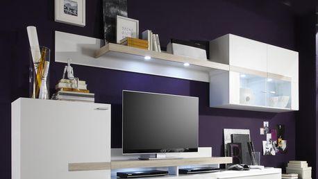 Obývací stěna PIANO bílá/dub Sonoma