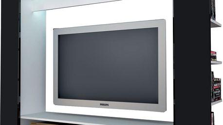 Televizní stěna OLLI bílá / lesklá černá