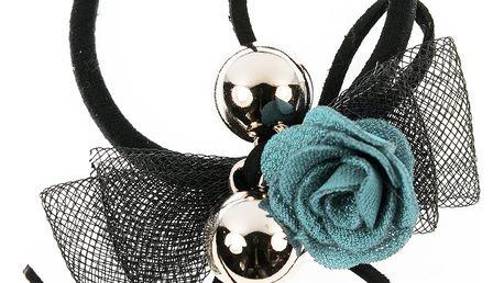 Fashion Icon Gumička do vlasů růže s zlatými kuličkami