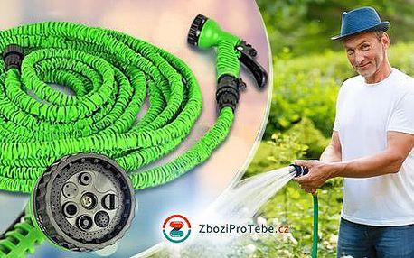 Lehká flexibilní zahradní hadice v délce 15 - 45 metrů včetně hlavice se 7 stupni rozprašování.