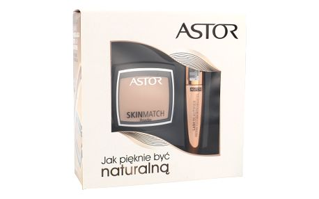 Astor Lash Beautifier Volume Mascara With Argan Oil Kit dárková sada pro ženy - 10ml Lash Beautifier Volume Mascara With Argan Oil + 7g Skin Match Powder 100 Ivory - Odstín 800 Black
