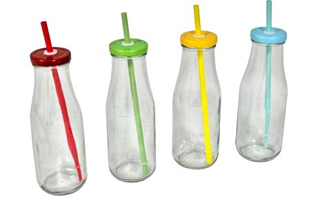 Sada 4 lahví s víčky a brčky Retro