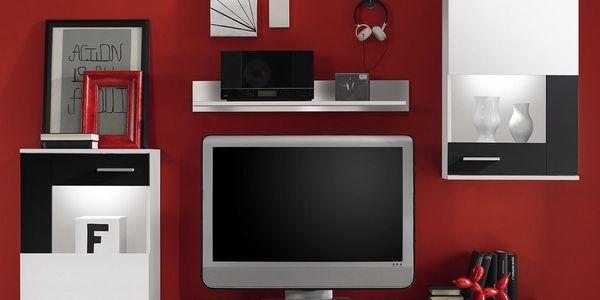 Obývací stěna SALERNO bílá / černá