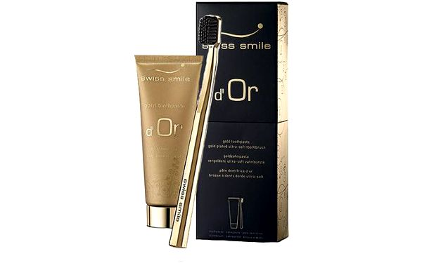 Swiss Smile d´Or Gold Toothpaste Kit dárková sada U - 75ml Gold Toothpaste + 1pc Ultra Soft Toothbrush Gold Plated Zlatý zubní gel