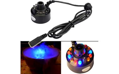 Zvlhčovač vzduchu s LED podsvícením, který tvoří barevnou mlhu