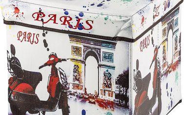 Skládací sedací box s potiskem motorka Paris,