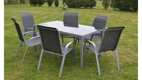 Zahradní nábytek Linda s 6-ti židlemi, stůl s tvrzeným sklem, doprava zdarma!
