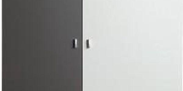 Tablo-šatní skříň,2x dveře (grafit/bílá, lesk/atlantic)