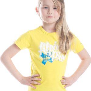 ALPINE PRO Dívčí funkční tričko s potiskem Stygo - žluté