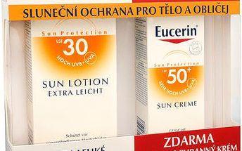 Eucerin Extra lehké mléko na opalování SPF 30 + ochranný krém na opalování na obličej SPF 50 ZDARMA