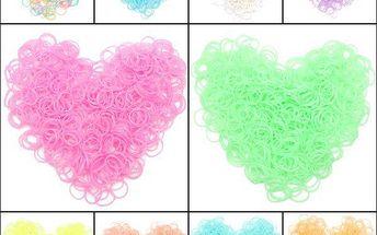 600 kusů gumiček v jemných pastelových barvách