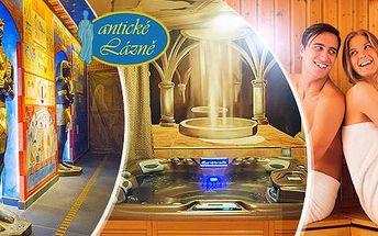 Privátní whirlpool a solná komora pro 2 osoby na 1 hodinu v egyptském stylu s možností občerstvení.
