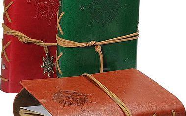 Cestovatelský deník v koženkových deskách - malý - dodání do 2 dnů