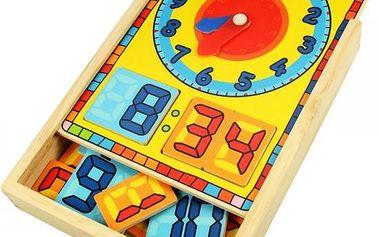 Bigjigs Toys Ručičkové a digitální hodiny v krabičce