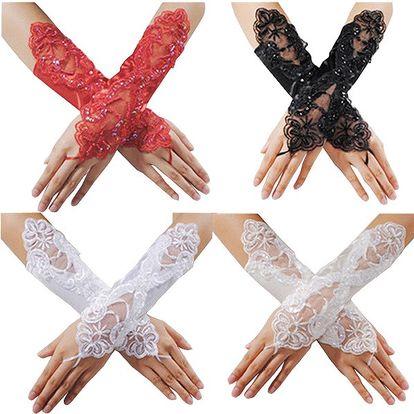 Saténovo-krajkové plesové rukavičky ve 4 barvách