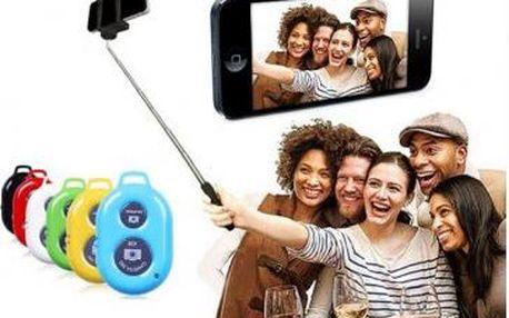 Praktický set na focení selfie - teleskopický držák a bluetooth ovladač.