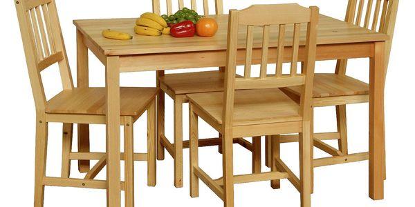 Set stolu a 4 židlí z masivu borovice, lakovaná úprava