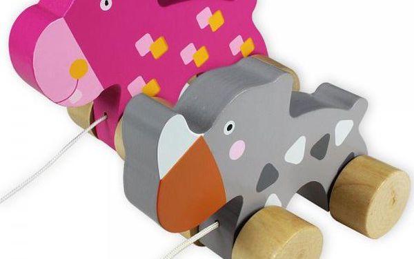 Marionette Nosorožeč a hroch na provázku, sada 2 ks