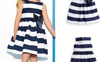 Pruhované dívčí šaty s mašlí Bibi