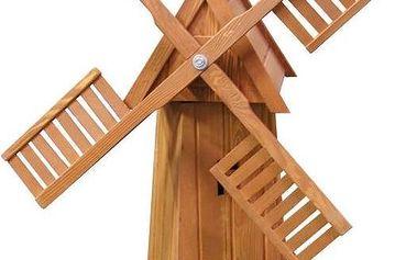 Dřevěný větrný mlýn 74-70212, ruční práce, mořené dřevo, doprava zdarma