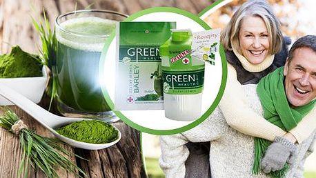 Zelený ječmen Green Health: 250 g prášku + shaker včetně poštovného.