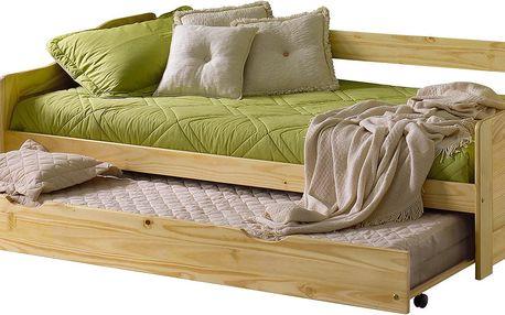 Rozkládací postel MARTINA 90x200 cm víceúčelová Smrk, lak Idea
