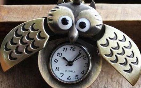Originální hodinky na řetízku - sova s překvapením