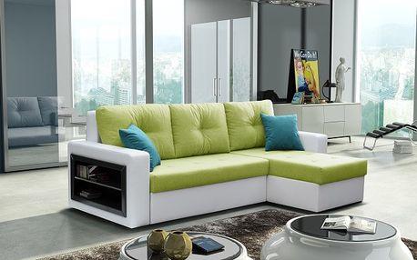 Rohová sedací souprava FORTE - bílá / světle zelená
