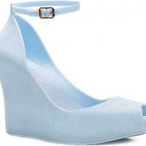 Dámské modré sandály na klínku Zanett 067