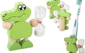 Stojánek na zubní kartáček ve tvaru krokodýla - dodání do 2 dnů