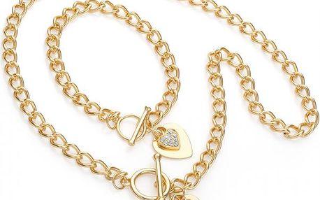 SET: Náhrdelník a náramek ve zlaté barvě Love 30334