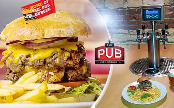 2x hovězí burger s výběrem ze 4 druhů + julienne hranolky v The PUB na Smíchově