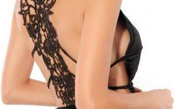 Černý top s krajkovým vzorem na zádech