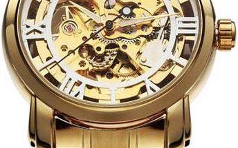 Pánské mechanické hodinky ve zlaté barvě