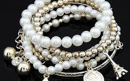 Vícevrstvý náramek s perlami a přívěsky - dodání do 2 dnů
