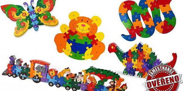 Dřevěné puzzle s číslicemi a písmenky pro hravé učení dětí