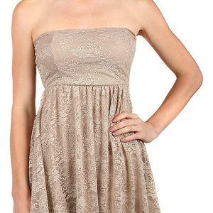 Dámské krajkové šaty bez ramínek béžová