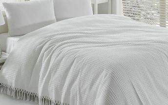 Přehoz přes postel Pique White, 220x240 cm