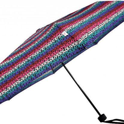 s.Oliver Dámský skládací mechanický deštník Enjoy Letter Stripe Multi Colour 70803SOL16-1