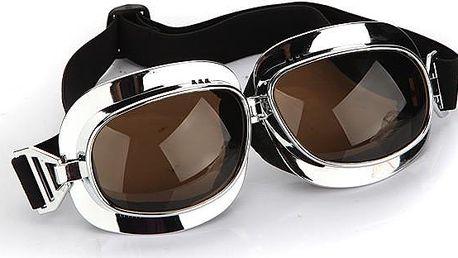 Motorkářské brýle stříbrné - hnědá skla