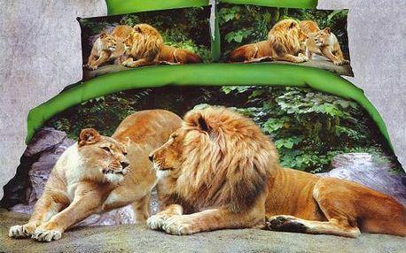 NOVIA Povlečení Francouzské s 3D efektem, bavlna, 3 dílné, Lvy, 200x220 70x90