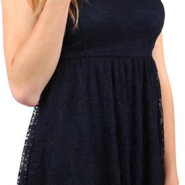 Dámské krajkové šaty bez ramínek tmavě modrá