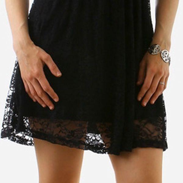 Krajkové šaty bez ramínek černá