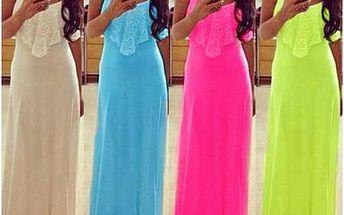Neonové maxi šaty s krajkou - 4 barvy