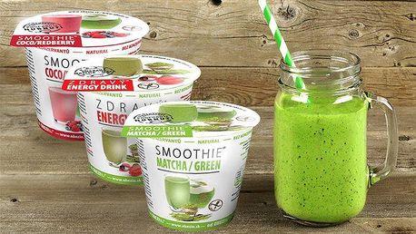 Zdravé instantní nápoje smoothie ve 2 příchutích a či přírodní energy drink