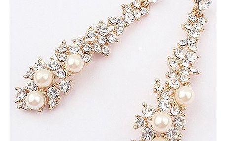 Luxusní podlouhlé náušnice s perlami