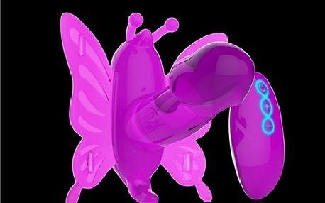 Krásný průhledný samodržící vibrátor Butterfly se dvěma motorky a na dálkové ovládání
